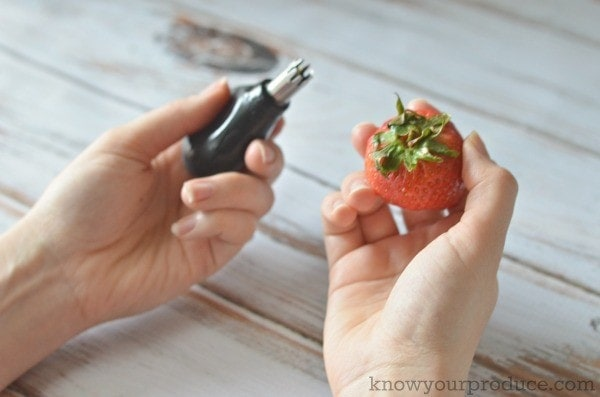 one hand holding a strawberry huller another hand holding a strawberry