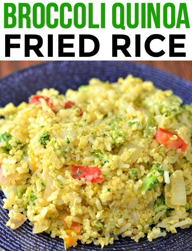 Broccoli Quinoa Fried Rice, a protein packed side dish or even main course. Kids will love this kid friendly recipe!