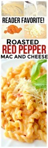 Creamy and full of flavor, Roasted Red Pepper Macaroni and Cheese!Say goodbye to old fashioned macaroni and cheese and hello to this new tradition. No need for boxed mac and cheese!