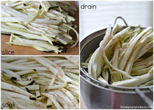 step by step photos prepping eggplant noodles