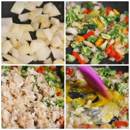 step by step photos making quinoa fried rice with vegetables cooking in a pan