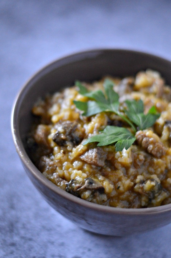Creamy Mushroom Beef and Rice, filling dinner recipe without the guilt!