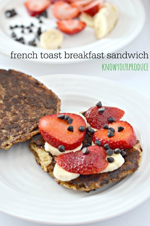 ... french toast breakfast sandwich with strawberry banana and chocolate