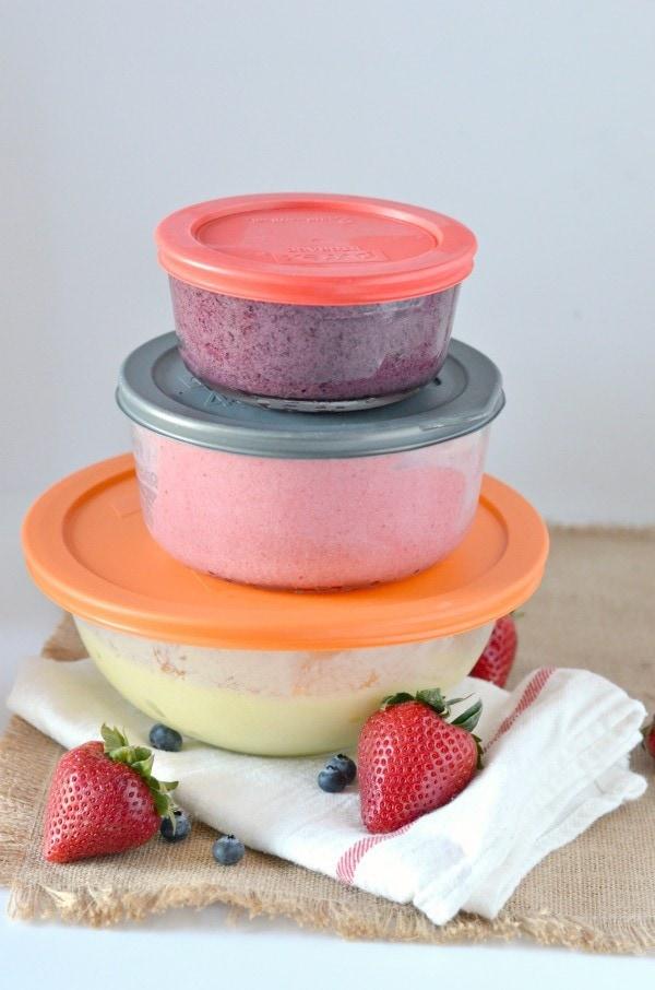 Dye Free Memorial Day - Strawberry, Pineapple, & Blueberry Ice Cream Vegan and Dairy Free