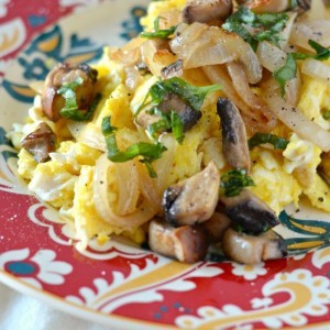 Scrambled Eggs with Caramelized Onions, Mushrooms, and Fresh Basil