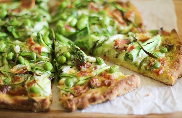 Asparagus and Pancetta Pesto Pizza, by the roasted root