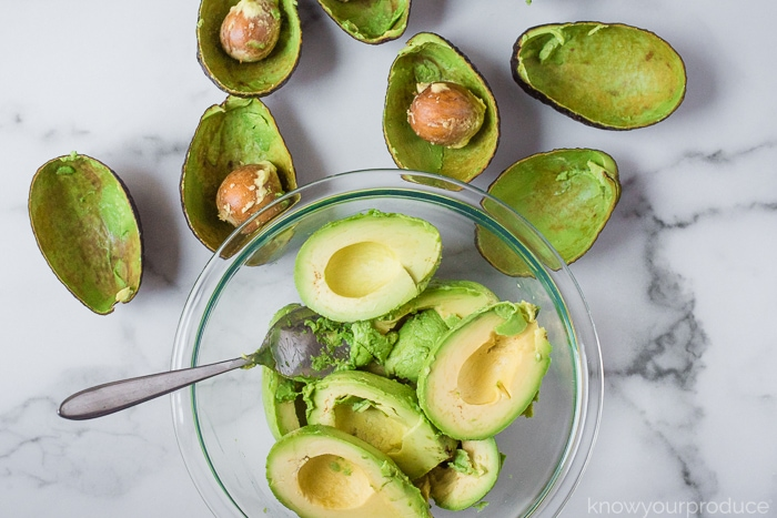 avocados in a bowl for guacamole