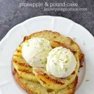 Grilled Pineapple with Pound Cake and Vanilla Ice cream