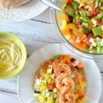 Shrimp and Israeli Pepper Salad with Pita Bread
