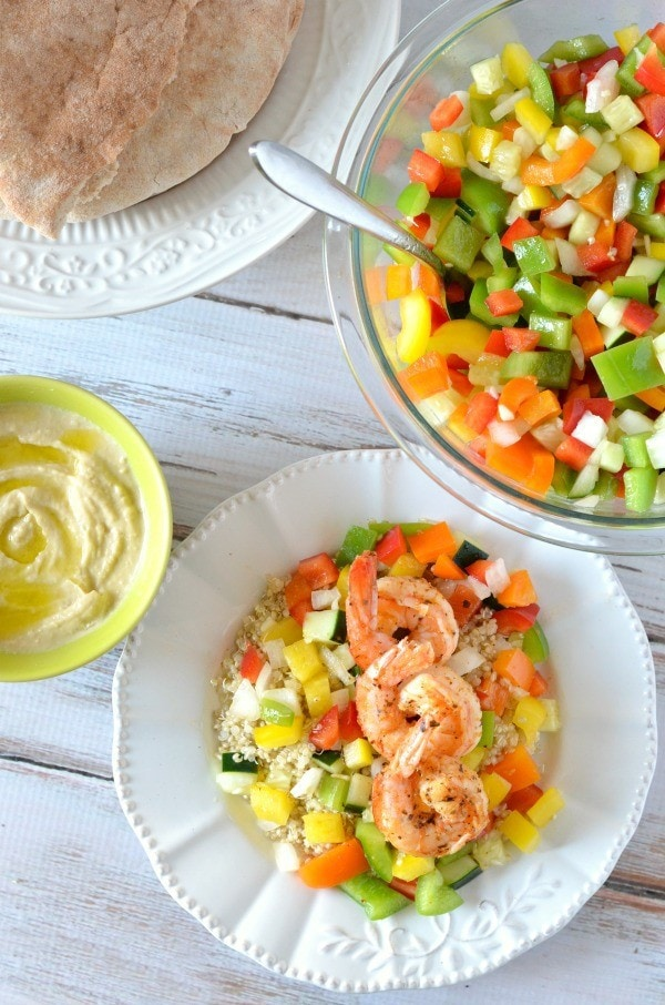 Shrimp with Israeli Salad