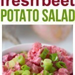 Old Fashion Potato Salad picnic food recipes are fun, but you'll have even more fun with this PRETTY PINK! beet potato salad recipe