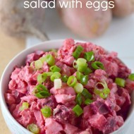 Beet Potato Salad with Eggs + Vegan Version