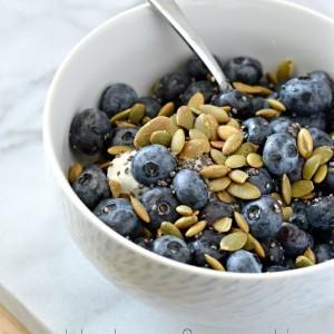 Greek Yogurt Breakfast Bowl with Blueberries and Pumpkin Seeds