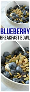 Healthy Blueberry Breakfast Bowl. The tangy greek yogurt, the sweet blueberries, nutty pumpkin seeds with a hint of salt equal the perfect combination for a greek yogurt breakfast bowl.