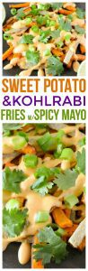 Make this tasty recipe of sweet potato fries baked and kohlrabi fries! we pair it with a homemade spicy mayo recipe and this is a great way to use kohlrabi if you're looking for kohlrabi recipes.