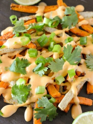Sweet Potato and Kohlrabi Fries with Spicy Roasted Red Pepper Mayo