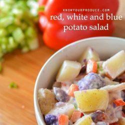 how to make potato salad – Red, White and Blue potato salad / vegan