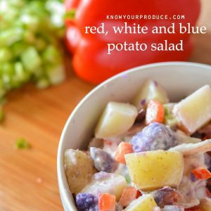 how to make potato salad – Red, White and Blue potato salad / vegan