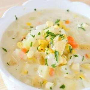 Potato, Corn and Kohlrabi Chowder Recipe   Vegetarian