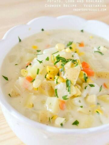 Potato, Corn and Kohlrabi Chowder Recipe www.knowyourproduce.com