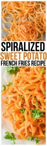 Make Sweet Potato Fries with little effort and in no time with our Baked Spiralized Sweet Potato Fries with Garlic and Parsley Recipe!