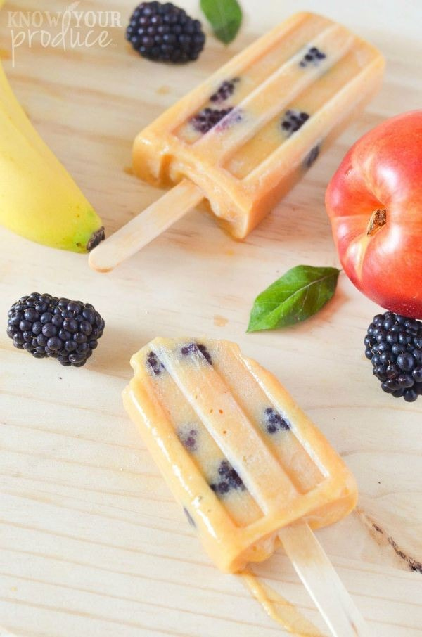 Nectarine Banana Blackberry Homemade Ice Pops - Know Your Produce
