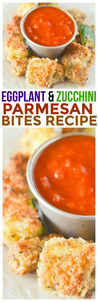 Quick and easy appetizer recipes just got an upgrade with this Eggplant Parmesan and Zucchini Parmesan Bites. Great toothpick appetizer recipe.