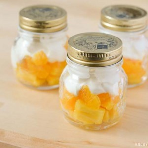 Mason Jar Candy Corn Fruit Cups - Healthy Halloween Treat that is super quick and easy to make.