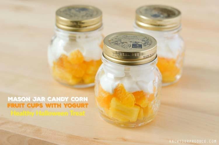 Mason Jar Candy Corn Fruit Cups with Yogurt - Healthy Halloween Treat