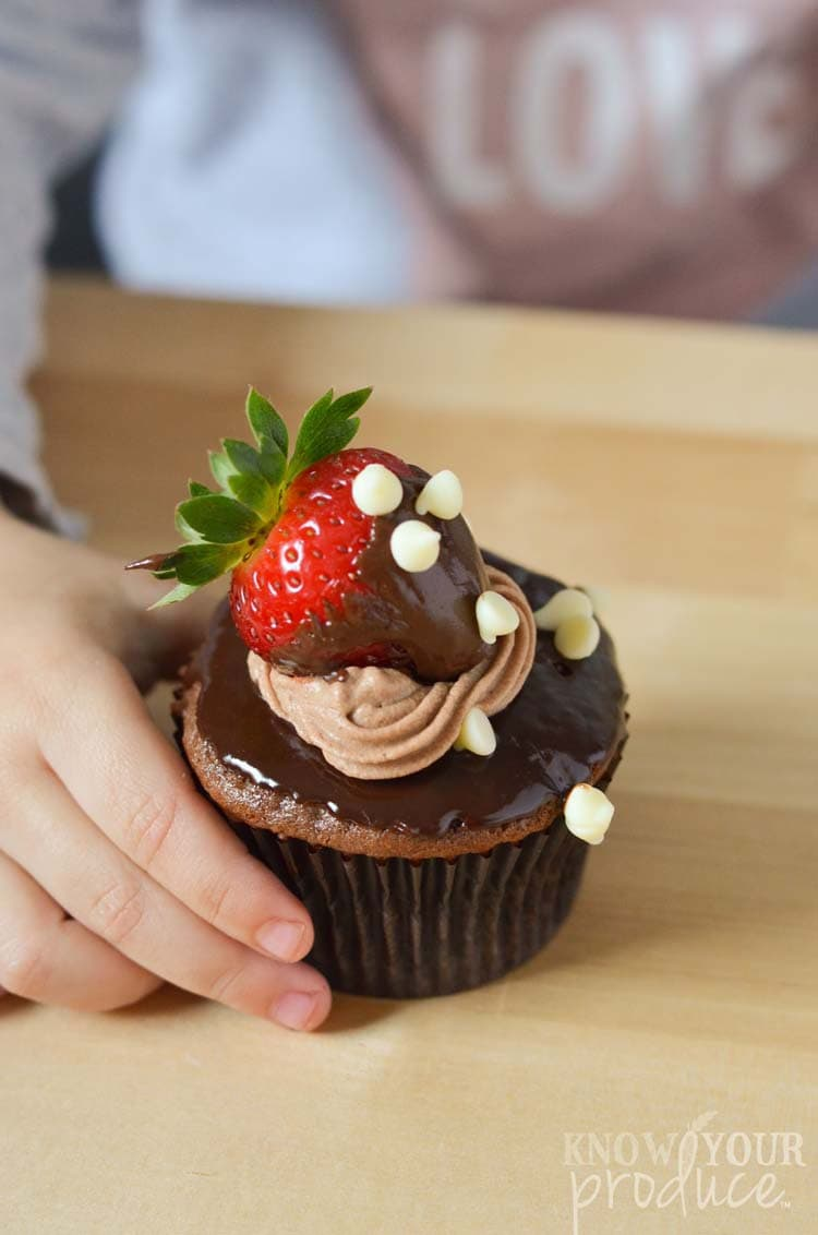 Vegan Ganache Chocolate Covered Strawberry Cupcakes - Quick and easy vegan or vegetarian cupcake recipe using cupcake essentials from OXO to raise awareness for Cookies for Kids' Cancer