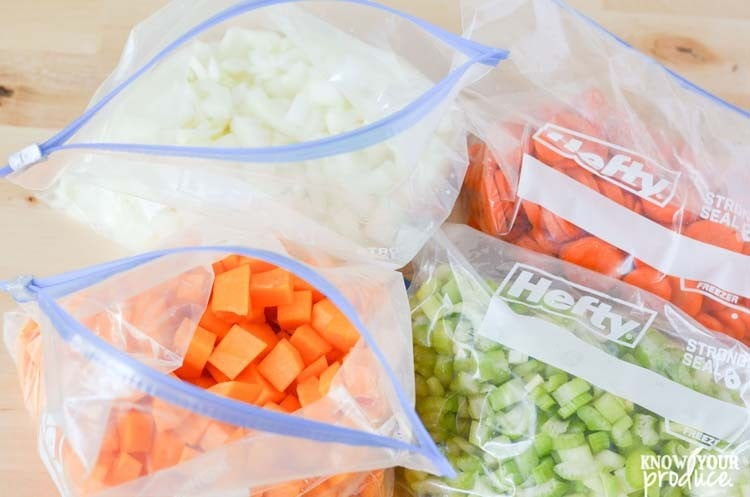 chopped meal prep vegetables in hefty gallon size bags