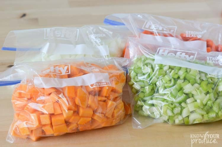 meal prep vegetables in bags for roasted butternut squash