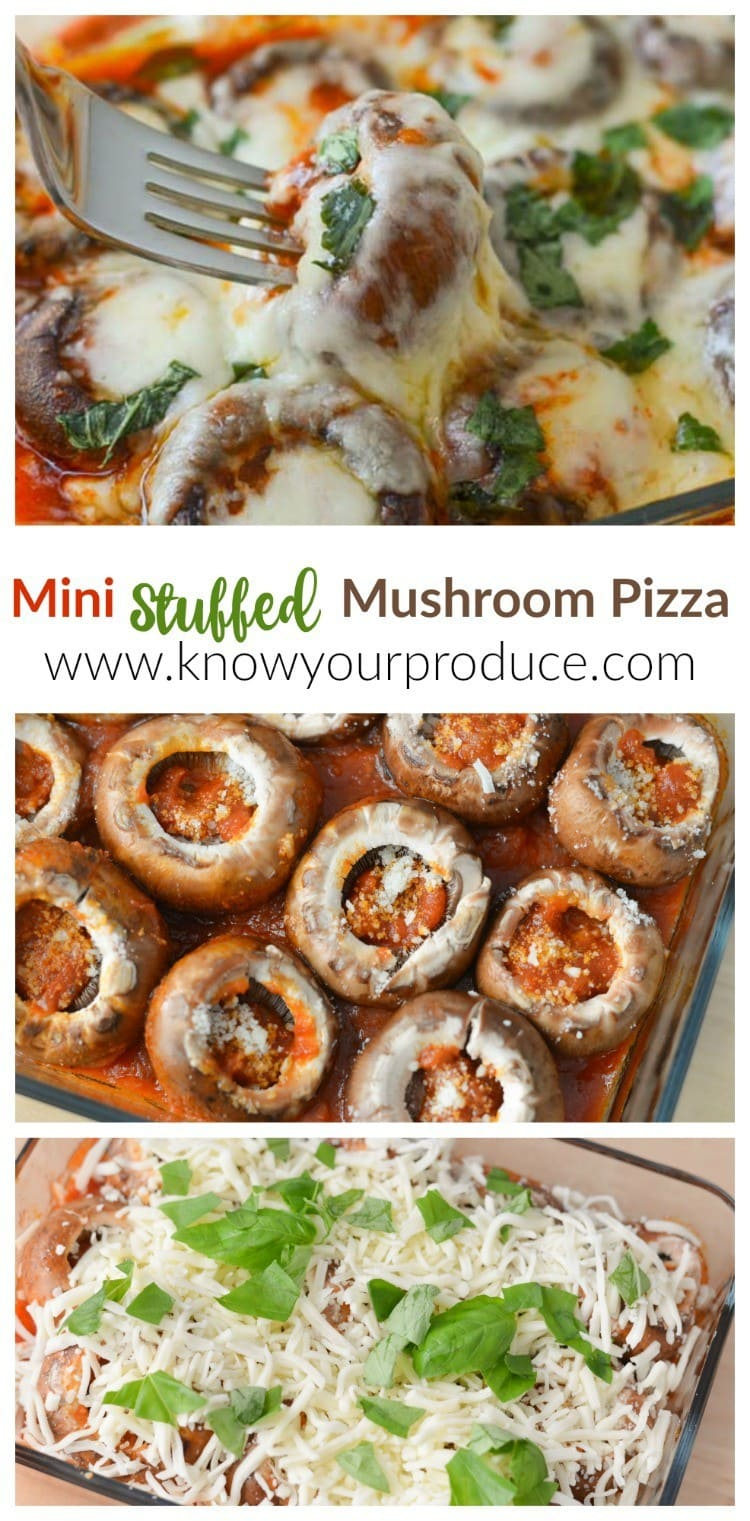 Quick and Easy Mini Stuffed Mushroom Pizza Recipe www.knowyourproduce.com