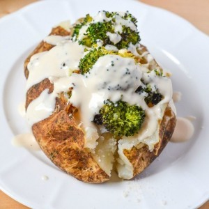 Broccoli Alfredo Stuffed Baked Potato