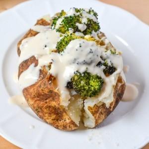 Broccoli Alfredo Stuffed Baked Potato