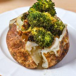 Broccoli Alfredo Stuffed Baked Potato Recipe with perfectly Roasted Broccoli and a creamy and rich alfredo sauce