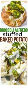 Simple side dish recipe, the best baked potato stuffed with broccoli and drizzled with alfredo sauce makes the Broccoli Alfredo Stuffed Baked Potato.