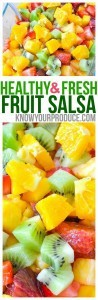 Fruit Salsa Recipe with No Added Sugar. Quick and easy healthy snack recipe. Serve this fruit salsa with cinnamon chips, over greek yogurt, or even plain