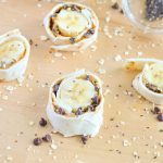 Peanut Butter Oatmeal Banana Roll-ups with Chocolate Chips