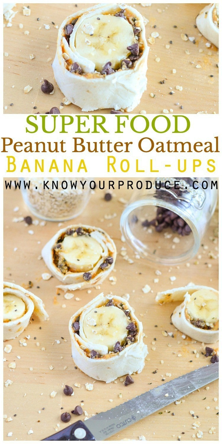 Super Food - healthy breakfast! I love the combo of peanut butter oatmeal for breakfast, but my toddler really enjoys when we make Peanut Butter Oatmeal Banana Roll-ups with Chocolate Chips! These banana roll-ups are filled with healthy food super foods like natural peanut butter, chia seeds, hemp hearts and semi-sweet chocolate chips.