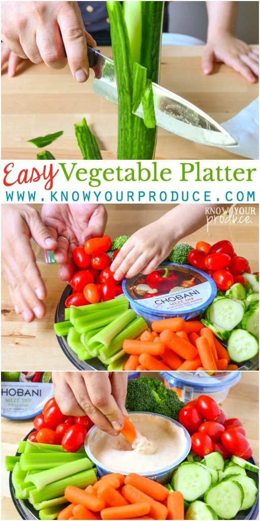 DIY Easy Vegetable Platter for Entertaining. How to prepare ahead of time, plus new Meze yogurt dip from Chobani!