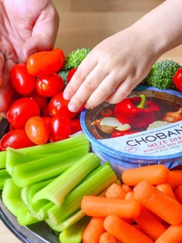Easy Vegetable Platter for Entertaining. How to prepare ahead of time, plus our new favorite yogurt dip from Chobani!