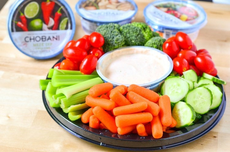 Easy Vegetable Platter for Entertaining. How to prepare ahead of time, plus new yogurt dip from Chobani!