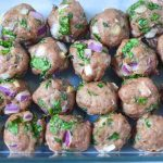 Israeli Turkey Baked Meatball Recipe (turkeymeatballpepscuits) TRISCUIT Mediterranean Olive Crackers topped with hummus, Israeli Pepper Salad, and Baked Turkey Meatballs