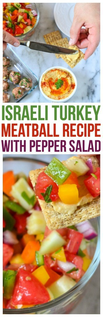 Israeli Turkey Baked Meatball Recipe Mediterranean Olive Crackers topped with hummus, Israeli Pepper Salad, and Baked Turkey Meatballs favorite Israeli Food Recipes