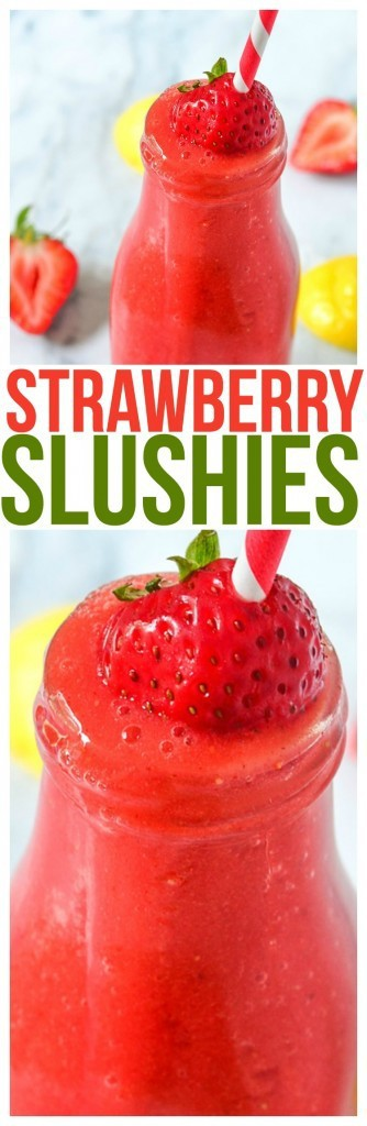 Strawberry Slushies are one of the top kid friendly recipes for frozen treats. Refreshing Summer Drink Recipes are more fun frozen!
