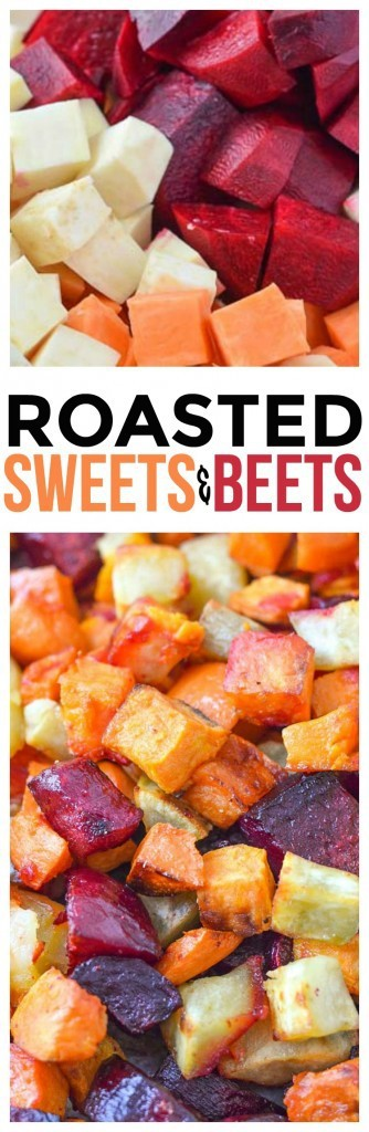 Roasted Sweets and Beets a healthy and delicious side dish for the whole family. This recipe is so good and full of sweetness. Add to salads, use as a side dish, even great in vegetable wraps!