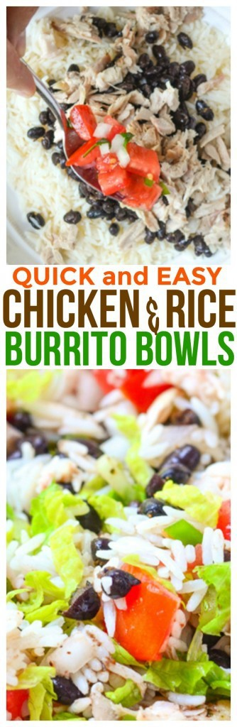 Easy Chicken Burrito Bowl Recipe using healthy and fresh ingredients. A simple recipe for easy meal planning. One of our family favorite leftover chicken recipes