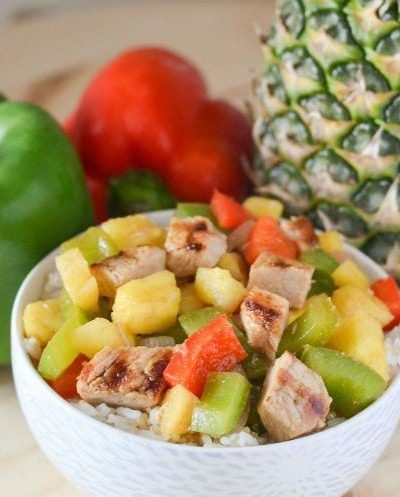 Quick and easy dinner recipe, Grilled Pork Chops with Pineapple and Peppers. It's a healthy and delicious recipe using fresh fruit and veggies!