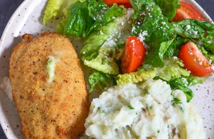 Roasted Garlic Mashed Potatoes with Barber Foods Broccoli and Cheese Chicken